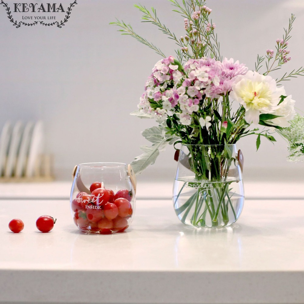 Keyama nordic minimalist style leather handle glass storage bottle table glass vases indoor hanging decorative glass vase in vases from home garden on