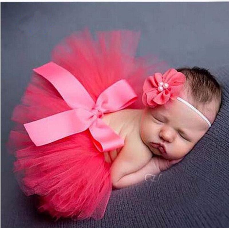 Baby Photo Props Newborn Tutu Skirt with Matching Headband Baby Photography Outfit Tutu Dress for Baby Girls