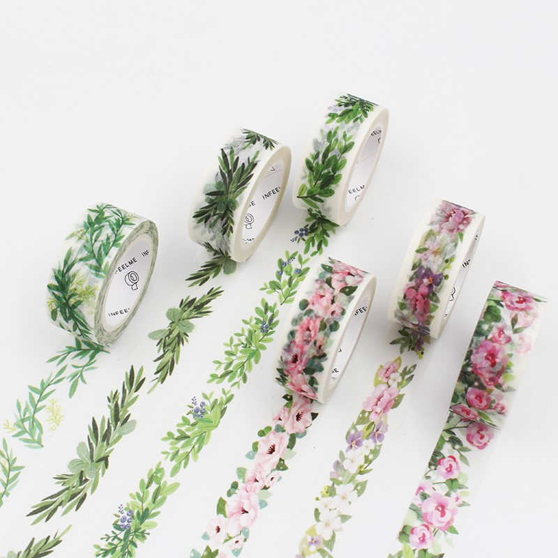 Washi Tape Comics Characters & Green Plants Diy Craft Scrapbooking Decorative Masking Tapes Cute Japanese Stationery e5ql 188 aquarium decorative lifelike artificial soft water plants green black