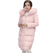 2017 New Women Down Jacket Winter Medium Long Slim Thick Warm Coat Long Sleeve Hooded Real Raccoon Fur Collar Parka Casacos