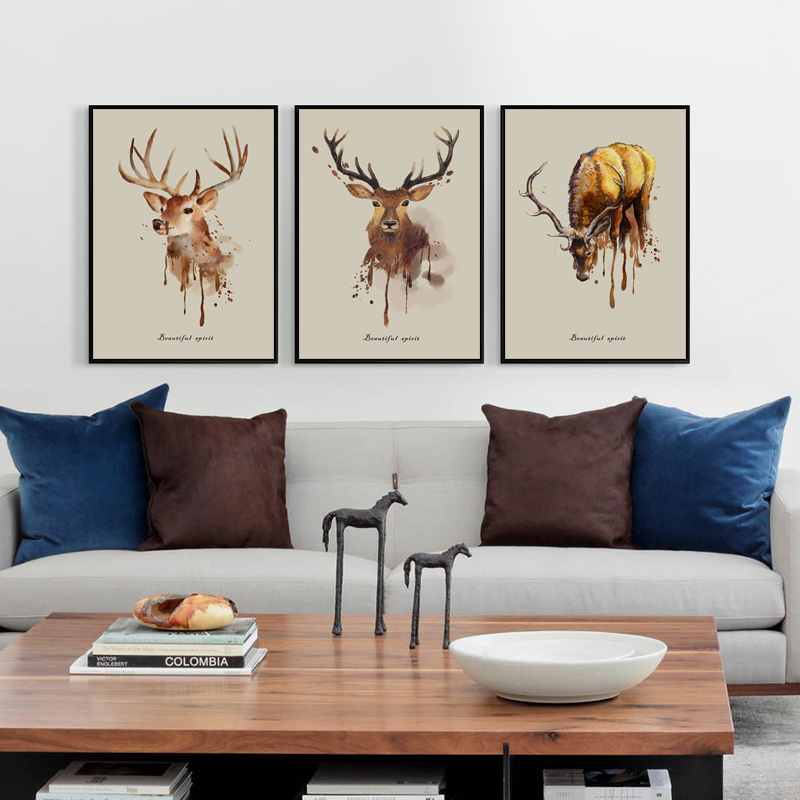 Bianche Wall Modern Ink Painting Animal Deer A4 Canvas Painting Art Print Poster Picture Wall Decoration Home Simple Decoration