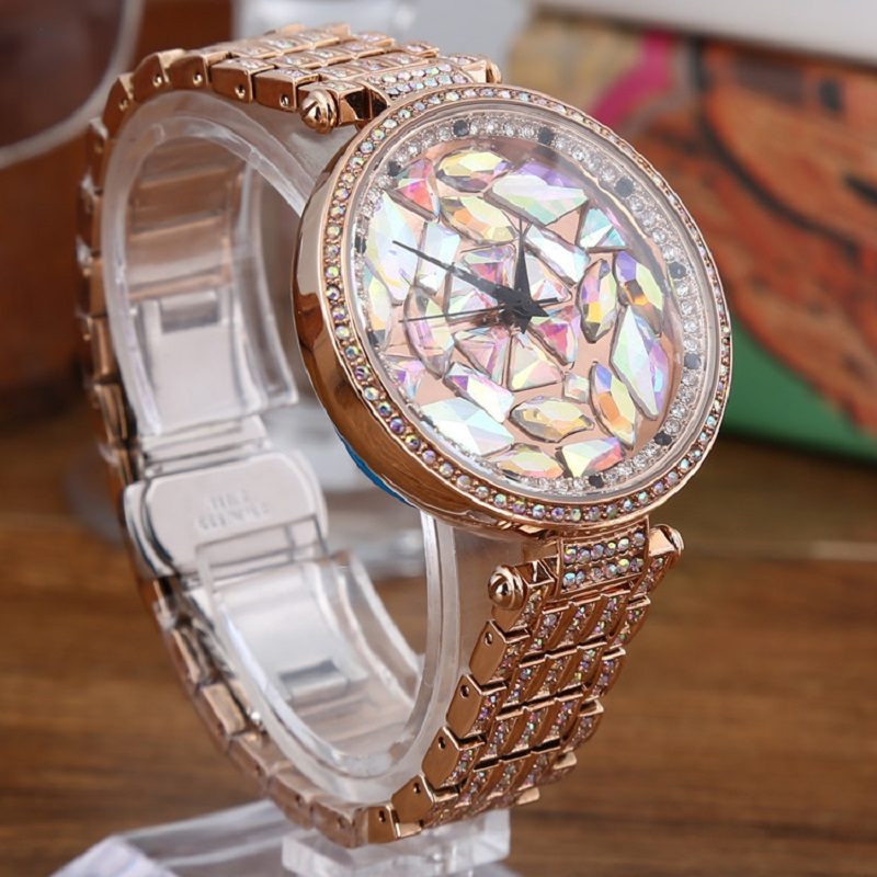 New Women Watches Top Luxury brand Women Wristwatch Ladies Fashion Colorful Rhinestone Quartz Watch Rose Gold relogio feminino new top brand guou women watches luxury rhinestone ladies quartz watch casual fashion leather strap wristwatch relogio feminino