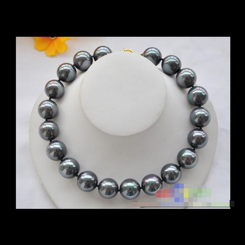 HUGE 20MM Black SOUTH SEA SHELL PEARL NECKLACE 17