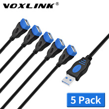 VOXLINK 5Pack extend USB 2.0 Extension Cable For PC Laptop Male to Female Charging Sync Data Extend 1M 1.8M 3M 5M