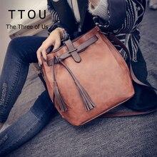 Pu Leather Shoulder Bag Women Handbags Tassel Bucket Bags Classic Messenger Bag Lady Retro Bolsas De Marca Bolsos Femeninos TTOU