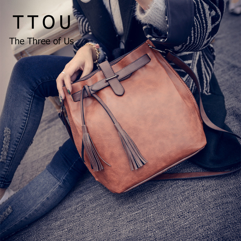 TTOU Tassel Shoulder Bag Women Fashion Designer Bucket Bags  Vintage Crossbody Bag Pu Leather Messenger Bag Hot Sale Handbag 2017 fashion bucket women messenger bag solid tassel pu leather ladies small crossbody bags women brand designer shoulder bags