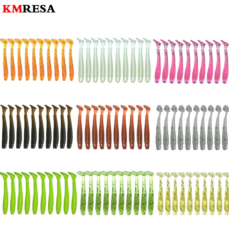50pcs/lot  T Tail Soft Bait Worm 5cm 0.7g Wobber Jigging Silicone Baits Leurre Souple Shad Iscas Artificial Minnow Carp Fishing