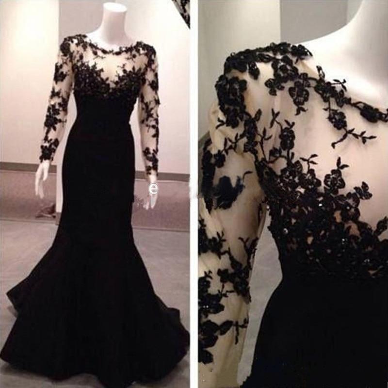 Longue robe de soirée turquie sirène robes de soirée à manches longues robe de bal noir sirène robe de soirée longue 2016 robe d.