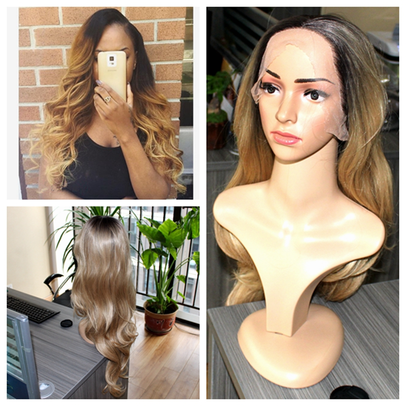 ФОТО Top quality beauty Omber synthetic wig black to #27 blonde lace front wig best Korean heat resistant hair 26 inches in stock