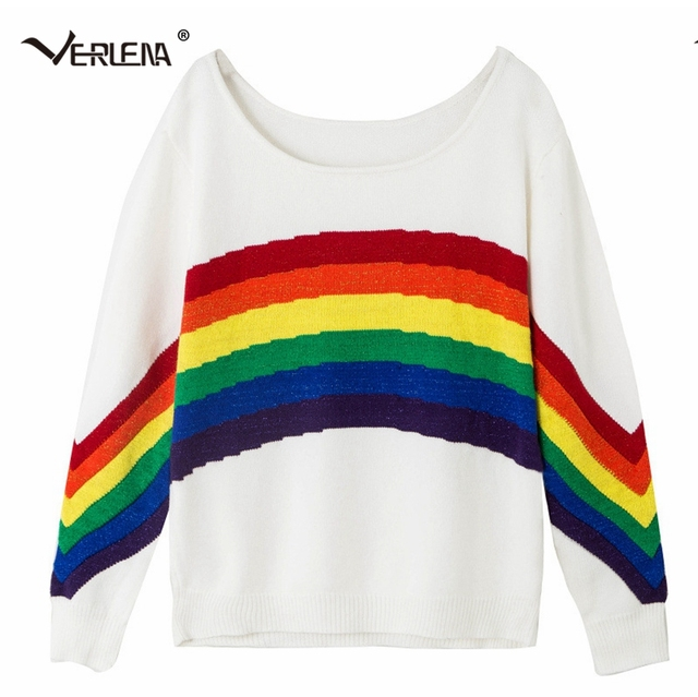 Verlena White Jumper with Rainbow Print in Front and Sleeves 2018
