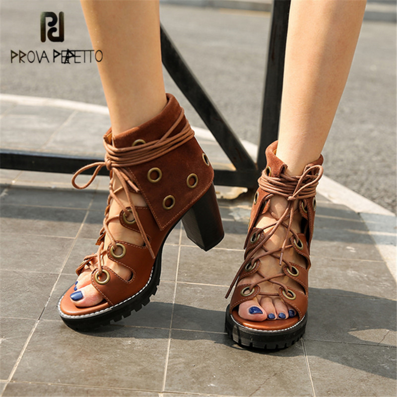 Prova Perfetto Women Lace Up Gladiator Sandals Chunky High Heels Hollow Out Women Platform Pumps Sandalias Mujer Stiletto prova perfetto women lace up gladiator sandals chunky high heels hollow out women platform pumps sandalias mujer stiletto