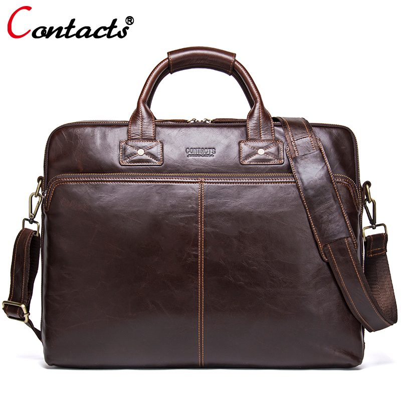 Contact's Brand Business Men Briefcase Leather Laptop Bag Casual Man Bag Genuine Leather Handbag Men Shoulder Messenger Bag Tote men genuine leather bag messenger bag man crossbody large shoulder bag business tote briefcase brand handbags laptop briefcase