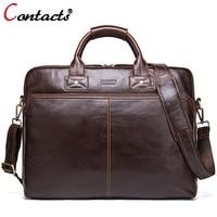 Contact S Brand Business Men Briefcase Leather Laptop Bag Casual Man Bag Genuine Leather Handbag Men