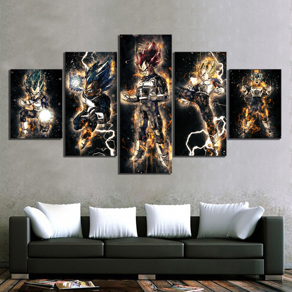 5 Piece Abstract Art HD Pictures Dragon Ball Vegeta Anime Poster Paintings Canvas Art for Home Decor Wall Art 3