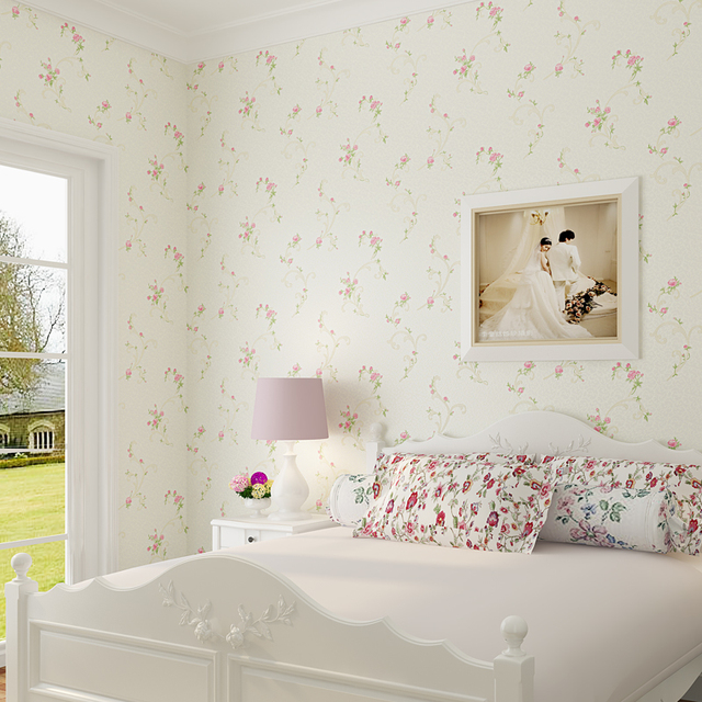 3d Non Woven Pastoral Floral Wallpaper Wall Covering Roll Bedroom