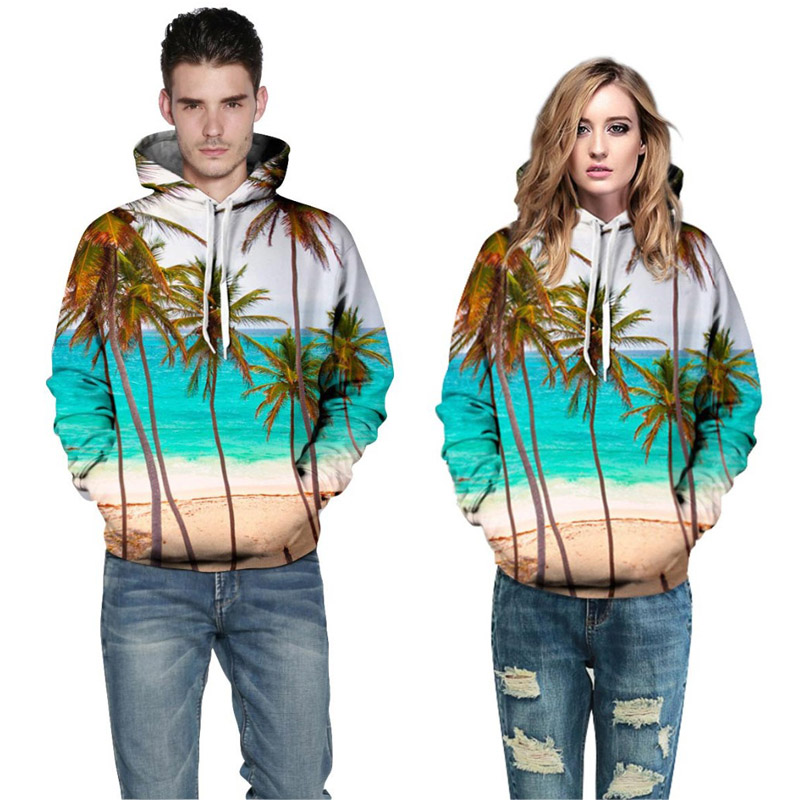 2018 New Fashion Brand Sweatshirt Men/women Hoodies Hooded 3d Print Coconut Trees Sea Beach Men 3d sweatshirt Hoody