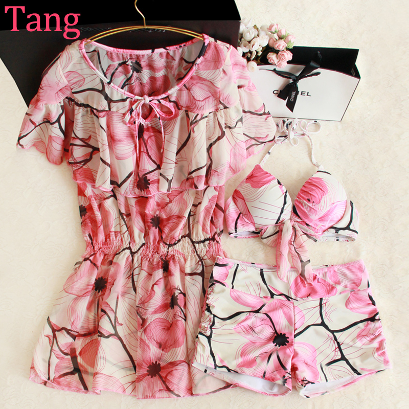 ФОТО STAR MENG Pink bikinis three piece female flounce chest explicit spa swimsuit Siamese gather conservative blouse