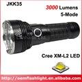 Светодиодный фонарик JKK35 3 x Cree XM-L2 U3  5 режимов  3000 люмен  с двойным USB портативным зарядным устройством-черный (3x18650)
