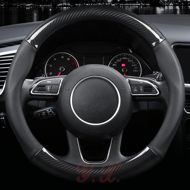 Carbon fiber vinyl Leather Car Steering Wheel Cover Anti-slip Steering Wheel Cover Fits 38cm for Volvo Interior Accessories universal sports style car steering wheel cover genuine leather auto wheel covers fits 15 inches 38cm car interior accessories