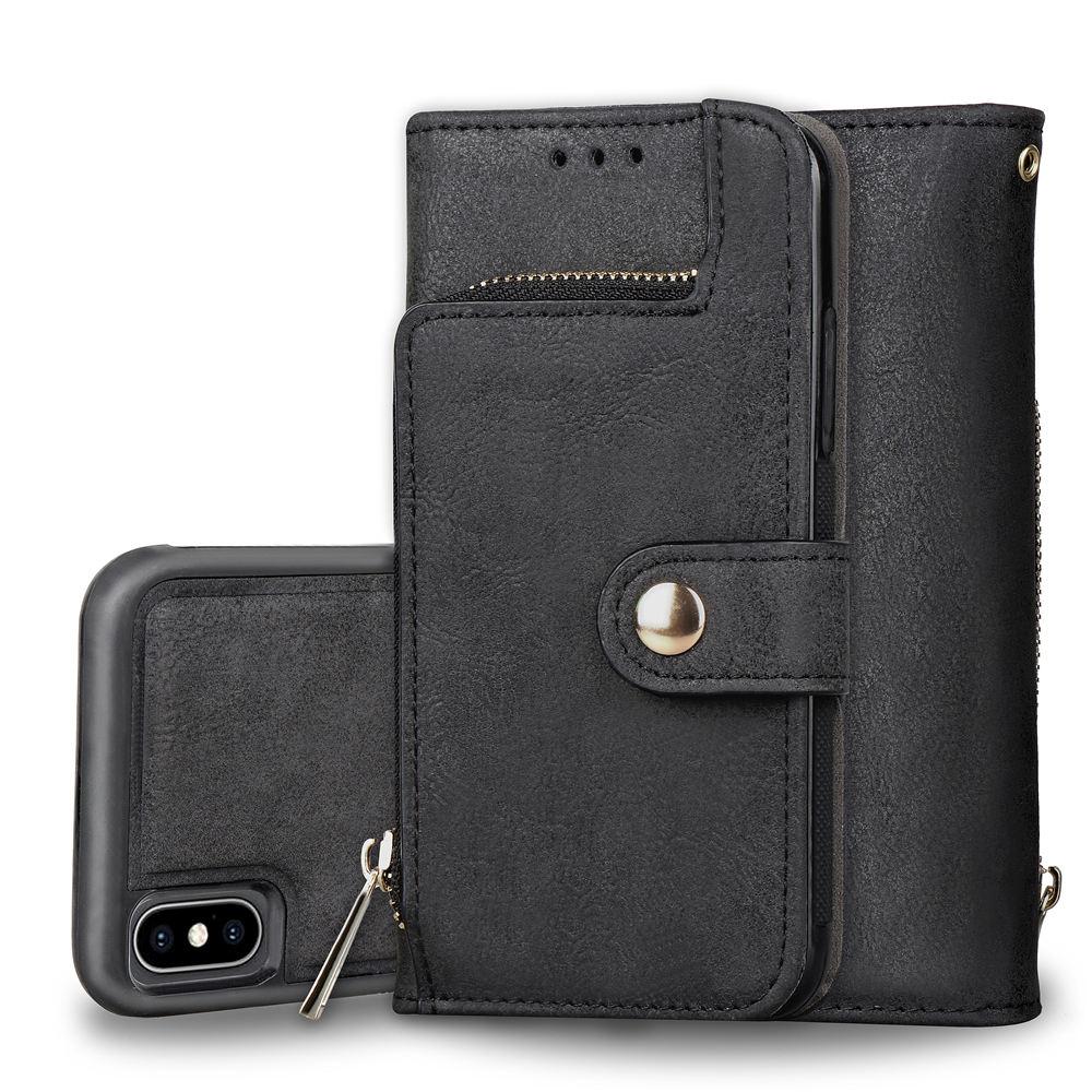 iP-X Zipper Adsorption Scrub Leather Flip Card Slot Wallet Case for Apple iPhone X 10 Cover Multi-level Split Black iPhone10