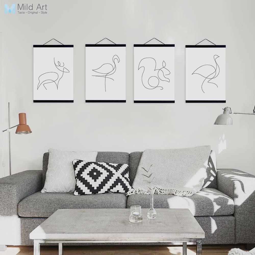 Resumen Picasso minimalista forma animal ciervos caballo madera ...
