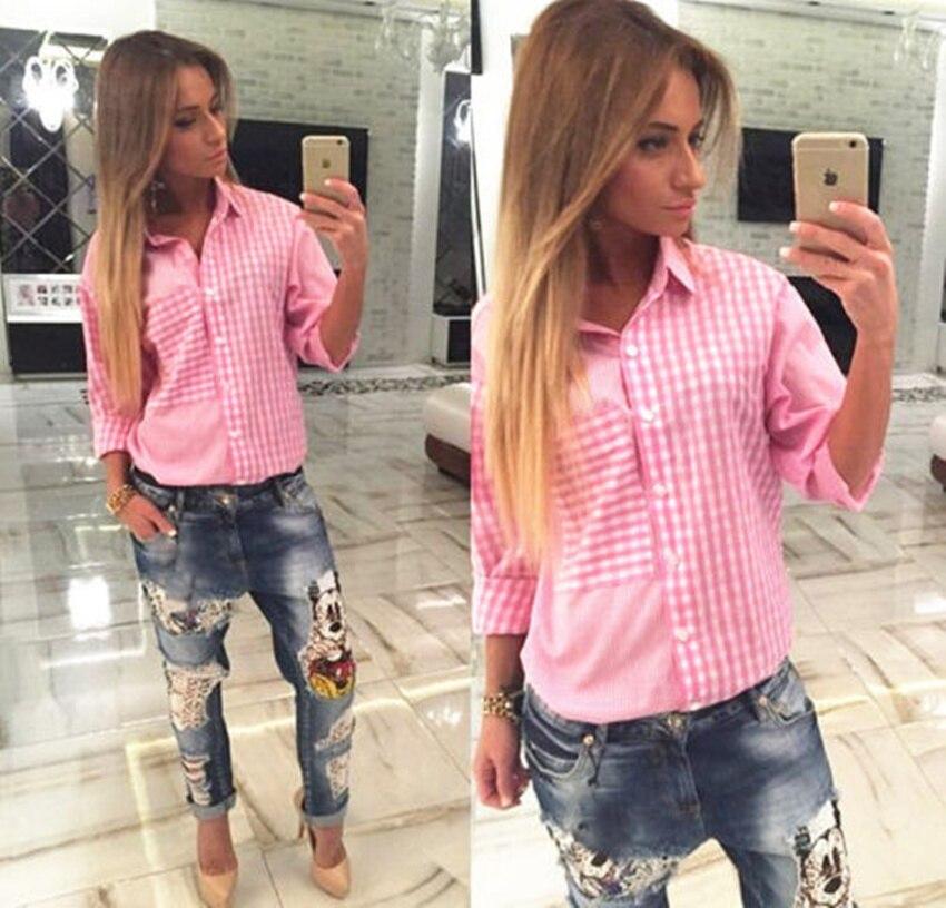 3dc56f0cb1d7 € 8.71 |2015 nueva Casual camisa rosa a cuadros mujer manga larga Loose  camisa a cuadros mujeres Ladies camisa con botones camisas , blusa blusa en  ...
