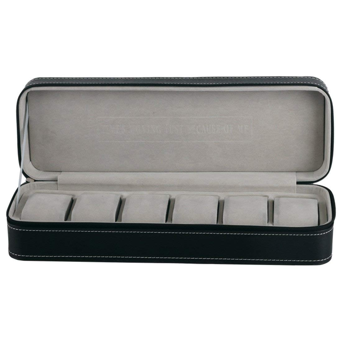 6 Slot Watch Box Portable Travel Zipper Case Collector Storage Jewelry Storage Box(Black)