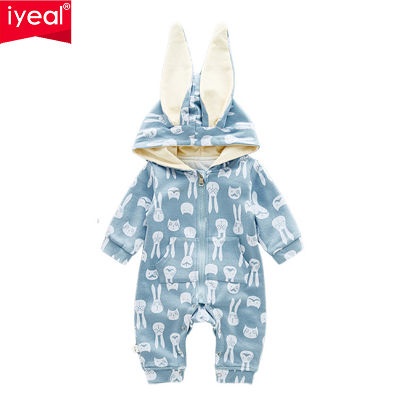 b8c15ff0b53d IYEAL New Autumn Baby Rompers Cute Cartoon 3D Ears Rabbit Hooded ...