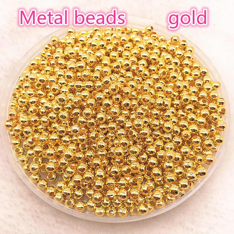 Risultati Dei monili di Diy 3-8mm Oro/Argento/Bronzo/Argento Borda il Tono di Metallo Liscia della Sfera del Distanziatore perline Per Monili Che Fanno