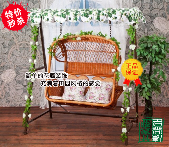 Double Spider Natural Rattan Chair Rattan Indoor Outdoor Swing