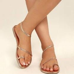 2019 обувь женские сандалии женские Стразы цепи плоские сандалии стринги шлепанцы с кристаллами сандалии гладиаторы сандалии