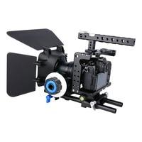 YELANGU 3 in 1 Lightweight Aviation Aluminum Alloy CNC Camera Cage Rig Kit+Matte Box + Follow Focus for Panasonic Lumix GH5 GH4