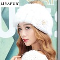 LIYAFUR Brand Russian Winter Knitted Rabbit Fur Women's Covered Ear Hat Natural Rabbit Fur Hats Caps with Raccoon Fur Ball