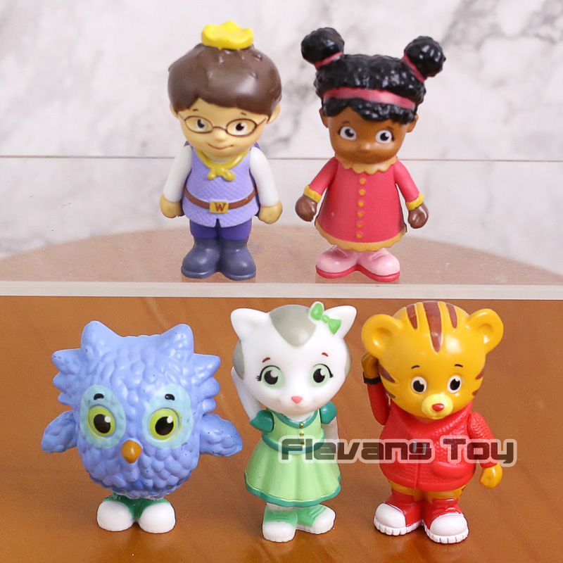 Daniel Tigers Neighborhood Daniel Tiger Prince Elaina Owl Katerina PVC Action Figures Kids Toys 5pcs/set