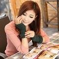 7 colors fingerless women Arm sleeve arm warmers Cotton blending Button knitting  beautiful comfotable Winter Gloves