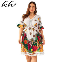 цены на Plus Size Women Holiday BOHO V Neck Short Sleeve Tassels Lace Floral Print Short Wrap Dress в интернет-магазинах
