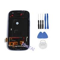 Lcdディスプレイ用三星銀河s3 i9300タッチスクリーン付きフレーム携帯電話デジタイザアセンブリ交換部品+無料ツー