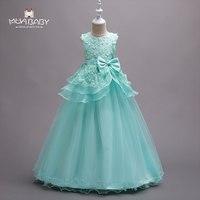 MUABABY 5 16T Big Girls Flower Princess Party Dress Kids Summer Sundress Children Girl Pageant Wedding
