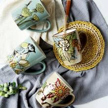 Chinese Retro Cup Porcelain Celadon Bird Teacup Set Teapot Drinkware Ceramic China Kung Fu Tea cup Gift