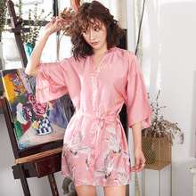 Feier Crane Prints Sexy Women Bathrobe High Quality 2019 New Arrival  Lingerie Robe Ladies Elegant Faux Silk Loose Sleepwear