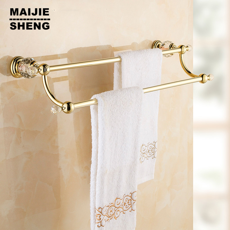 Free shipping Golden double Towel Bar,Towel Holder, Towel rack luxury Solid Brass & Crystal Made Golden Finish bathroom towel free shipping brass & stone golden towel rack gold towel bar towel holder cy008s