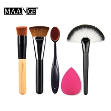 MAANGE 5pcs/Set Makeup Cosmetic Oval Toothbrush Brushes Droplets Sponge Puff Foundation Cream Powder Blending Contour Beauty Kit