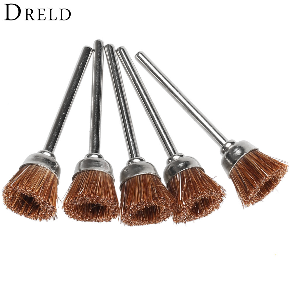 5Pcs Dremel Accessories 3mm Brown Soft Nylon Polishing Cup Brush Wheels Metal Buffing Polishing For Mini Drill Rotary Tools