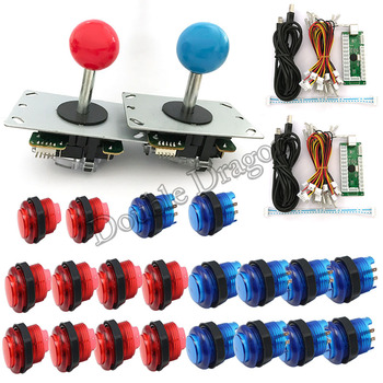 Arcade DIY Kit Parts Zero Delay USB Encoder To PC Joystick + 20x LED Arcade Button Wire For Mini Arcade Machines 5 colors фото