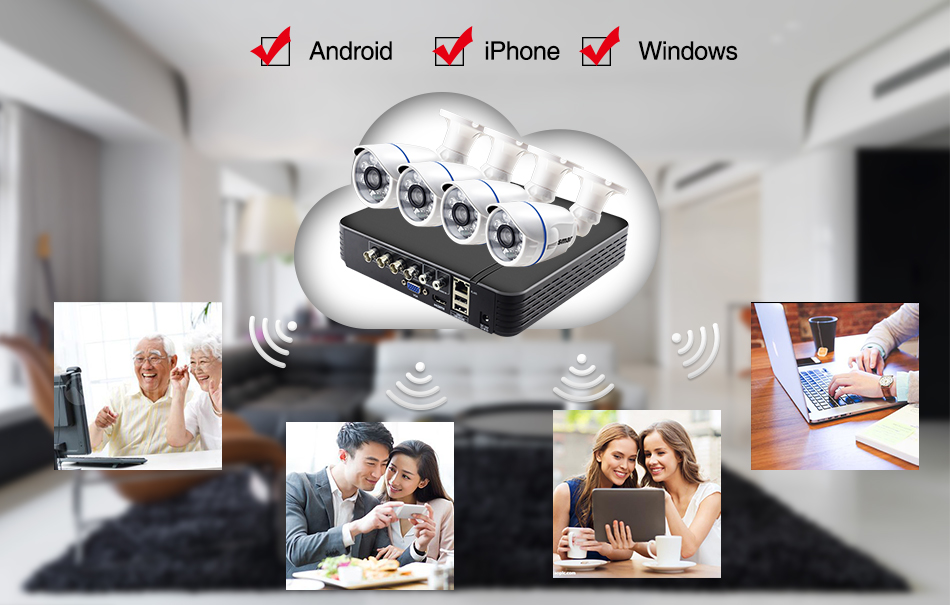 Smar CCTV 4CH 720P 1080P AHD Camera Kit P2P HDMI DVR Video Surveillance System Waterproof Outdoor Security Camera Kit (7)