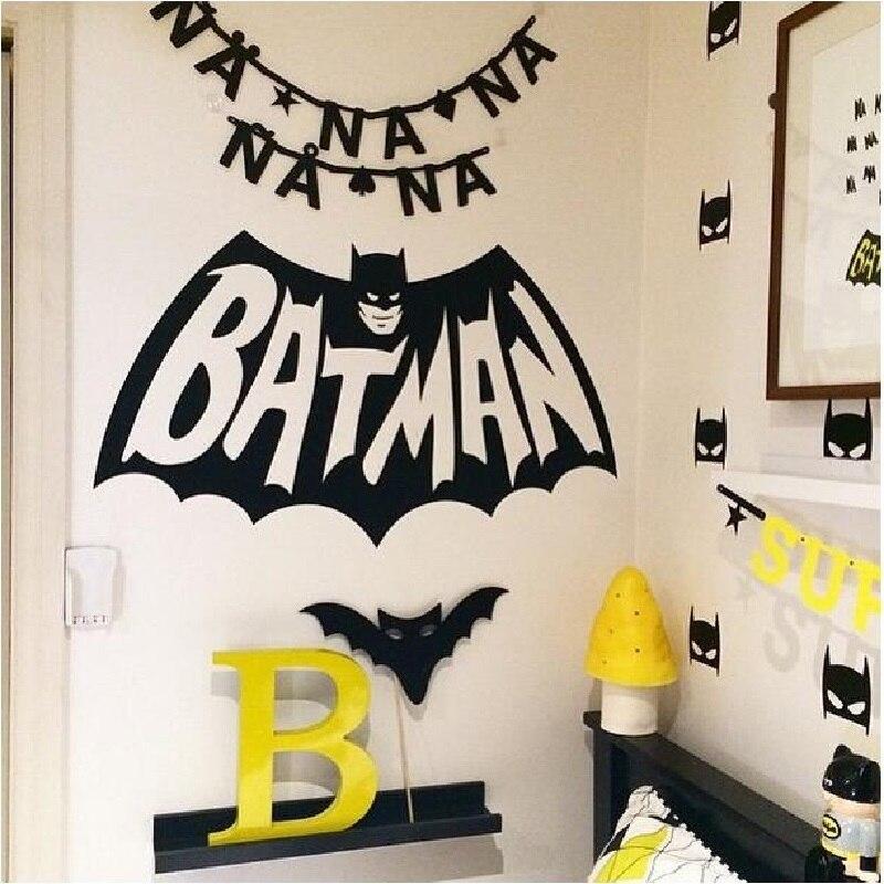 Lovely Cartoon Batman Pattern Sticker Kids DIY Bedroom Decoration Children Baby Birthday Gifts Decor Nordic European Style Toys