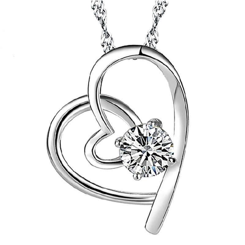 קריסטל תליון 925 תליוני כסף סטרלינג נצחי אהבת לב קסמי לנשים