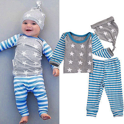 Autumn Winter Children Clothes Set Newborn Baby Girl Boy Clothes Long Sleeve Striped Tops+Pants Hat 3pcs Outfit Set 1