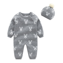 Brand Baby Girls Clothes Set Soft Cotton Knitted Newborn Infant Boys Rompers+Hats 2pcs Outfits Autumn Winter Children's Costumes autumn cotton rabbit ear knitted rompers infant girls boys cute animal playsuits dot printed hooded outfits baby clothes