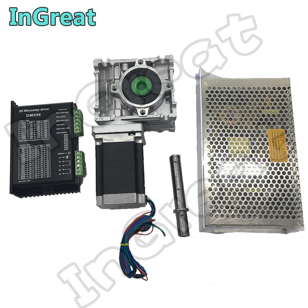 Worm Versnellingsbak RV030 Ratio50: 1 ~ 80: 1 + Nema23 Stappenmotor 100MM 2.5NM + DM556 Drive 5.6A + 200W Voeding Kit Converteren 90 graden